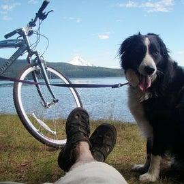 Taking a break from a bike ride