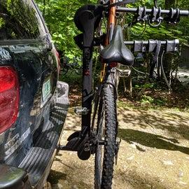 Side view of INH540 Vertical Hang Bike Rack