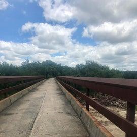 Trail way Dry Creek bridge heading to Garner