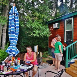 We were able to cook on the grill at the cabin where we stayed.  The cabin was large enough for the four of us, and had AIR CONDITIONING!!!!  Normally, I would opt to stay in a tent, but in eastern NC, it is HOT during July.