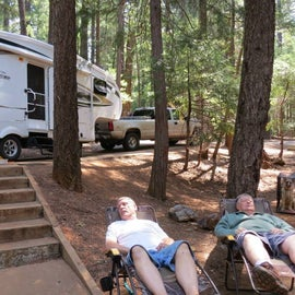 relaxing by the campsite