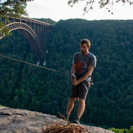 Rappelling instructor, David Wolff, New River Climbing School