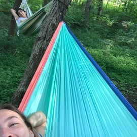 Relaxing in our hammocks