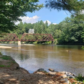 one of the campsites view of the river and railroad bridge
