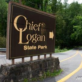 Entrance sign at Chief Logan State Park