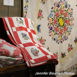 Quilts on display in the Chief Logan State Park Museum