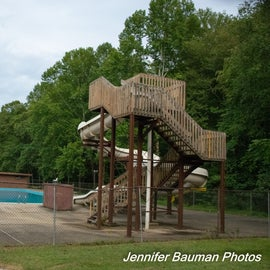 Giant slide at outdoor pool