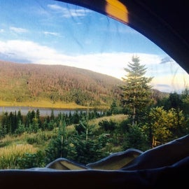 View from our bunk looking at Pear Lake