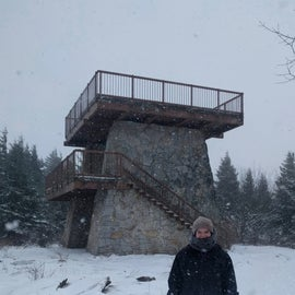 Stubby observation tower at the summit.