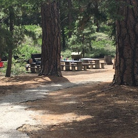 Set of picnic tables together at the sites