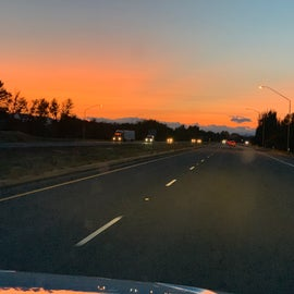 Making our way past Ellensburg as the sun goes down...   Will we make it before the camp gate closes????