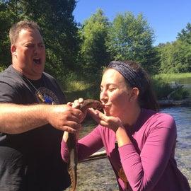 Kissing fish at the river front