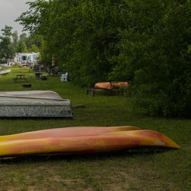 Keep your boat along the shore of Bass Lake, right next to the campground.
