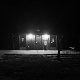 The bathroom area at night.