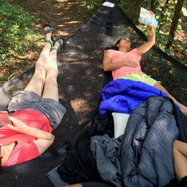 Our tentsile hammock setup that was perfect for afternoon reading