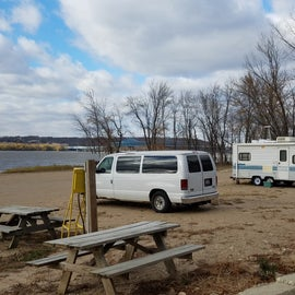 One  of the beachfront sites with a great lake view.