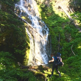 Stopping to admire waterfalls on the way to PJ lake