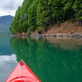 Canoeing around island