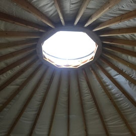 You can open the top of the yurt