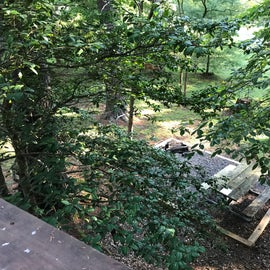 View of the fire pit from the back of the deck