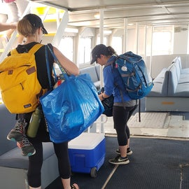On the ferry with camping gear