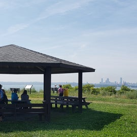 On Spectacle Island, there's a hill with a shelter and view of Boston