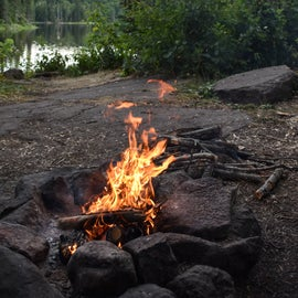 nice fire pit with lake views and loon calls