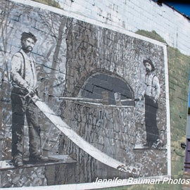 Mural in Richwood, a former lumber boom  town.
