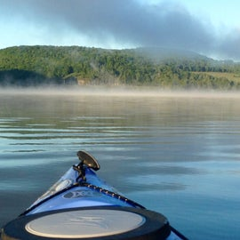 Beautiful kayaking & fishing just off the shore from campsite at Lawrence Recreation Area.