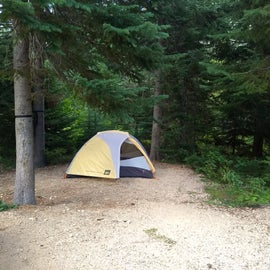 Our tent spot.  See how it is set below the rest of the campground, surrounded by trees.