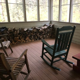 The porch can be enjoyed on warm days