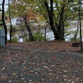 Site 41 is a large waterfront side with parallel parking along the loop road and a few steps down to the main site with picnic table, fire ring, and ample space for a couple of large tents