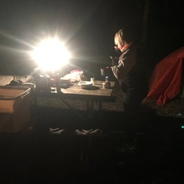 Site 89 nighttime arrival, set up and meal prep