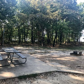 picnic table, fire pit and lantern stand
