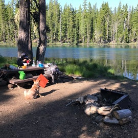 Our campsite.  You have a table and a fire bit and that is about it.  But it is right along the waters edge.