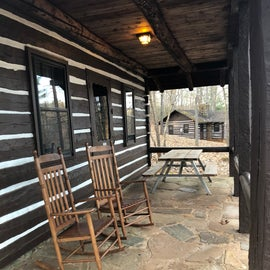 Porch rocking chairs and picnic table