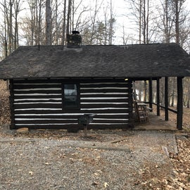 Parking area, grill, steps down to cabin
