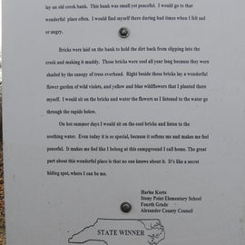 A fourth grader won an essay contest when she wrote about the campground.