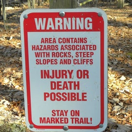 When hiking through the park, you will want to be careful around the cliffs.