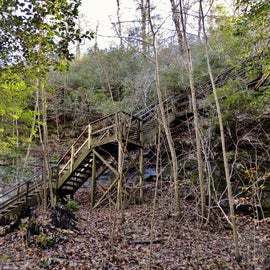 """To get to the """"raven rock,"""" you have to climb down these stairs."""