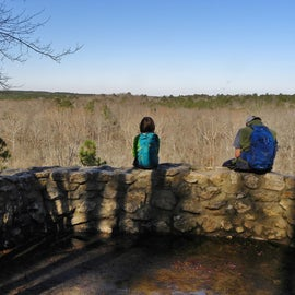 There is an overlook to view the Cape Fear River.  The drop to the river, if I remember correctly, is over 100 feet.