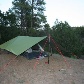 There were a couple sites like this that backed up to the wilderness area that surronds the campground. I used a backpacking tent, tarp and pad under my sleeping bag.