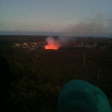 The glow on the crater!
