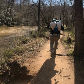 Hiking to backpack in campsite in Eno River State Park!