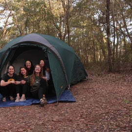 """Our group with our tent, """"The Castle"""""""