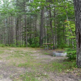 Site #3 with fire pit and picnic table.