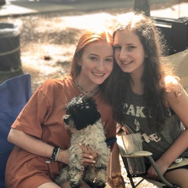 Sweet friends loving Lake Lincoln