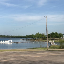 Boat ramp and marina area with parking access.