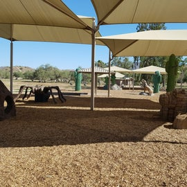 Super playground. Almost all under cover and each slide/climber or activity is shaped like a desert animal