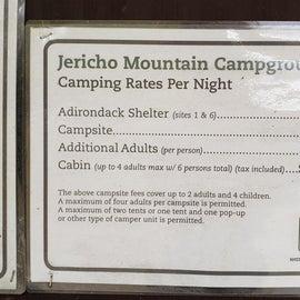 Camping rates 2019